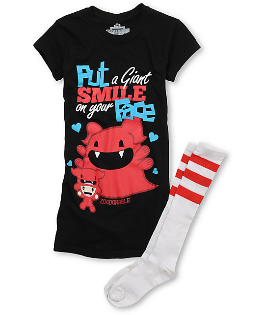 Bitter Sweet Giant Smile Zoodorable T-Shirt & Tube Socks Pack