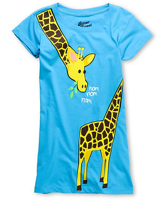 Bitter Sweet Giraffe Wrap Turquoise T-Shirt