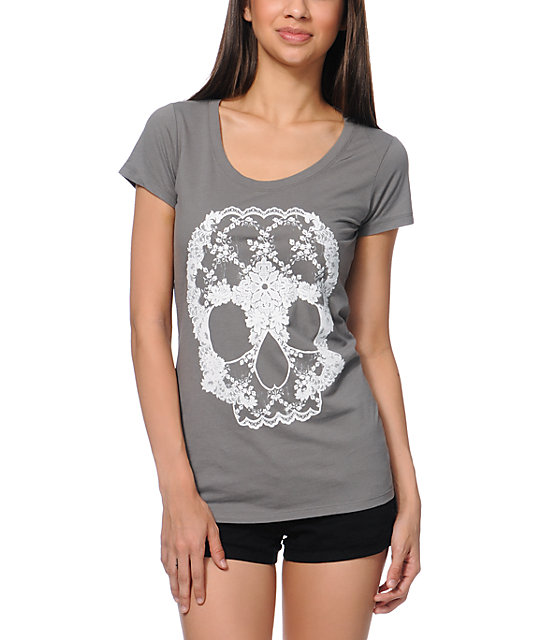 Bitter Sweet Lace Skull Charcoal Scoop Neck T-Shirt