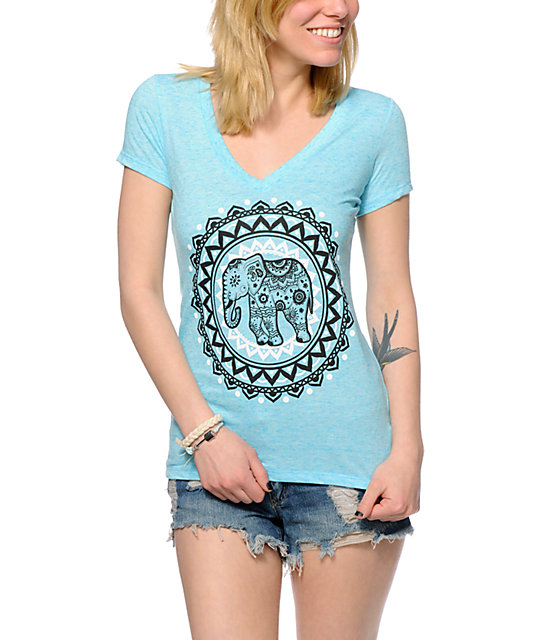 Bitter Sweet Ornate Elephant V-Neck T-Shirt