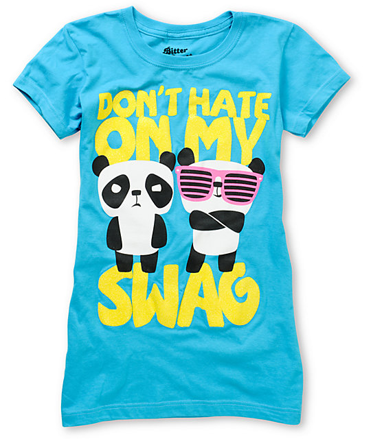 Bitter Sweet Panda Dont Hate Turquoise T-Shirt