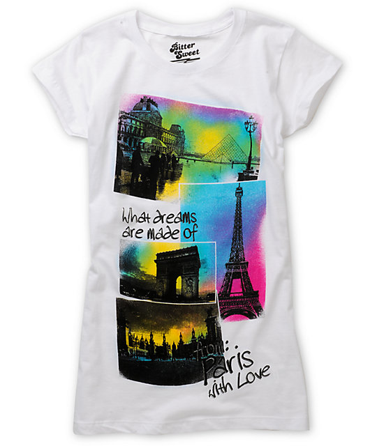 Bitter Sweet Paris Theme White T-Shirt