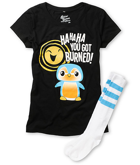 Bitter Sweet Pengie Burn Black T-Shirt & Sock Pack