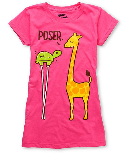Bitter Sweet Poser Turtle Pink T-Shirt