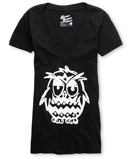 Bitter Sweet Pudgy Owl Black Glow In The Dark V-Neck T-Shirt