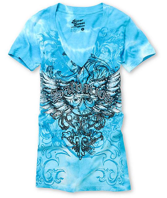 Bitter Sweet Salvation Turquoise V-Neck T-Shirt
