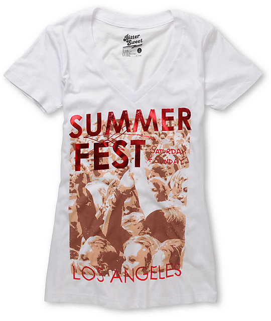 Bitter Sweet Summer Fest White V-Neck T-Shirt