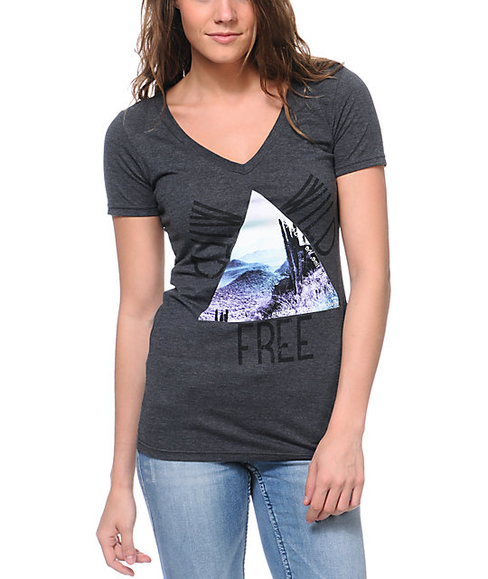 Bitter Sweet Wild Wild Free Charcoal V-Neck T-Shirt