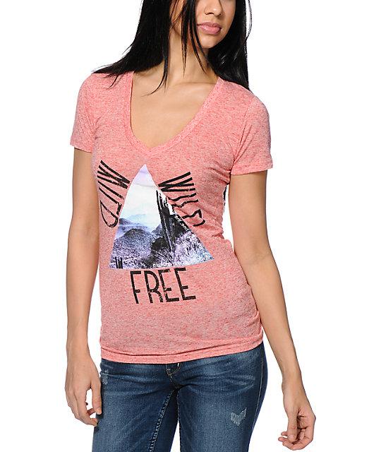 Bitter Sweet Wild Wild Free Coral V-Neck T-Shirt