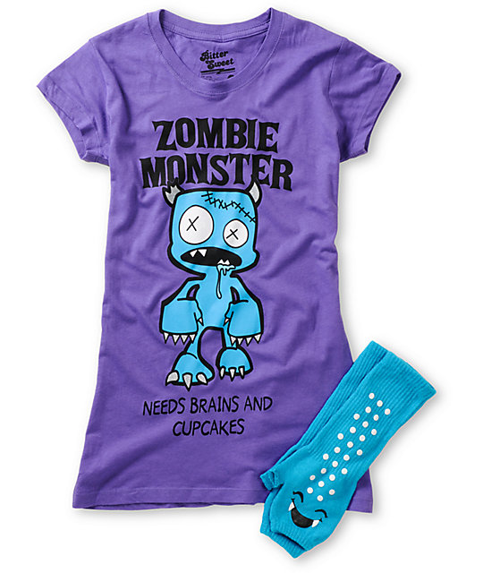Bitter Sweet Zombie Monster Graphic T-Shirt & Hand Warmer Pack