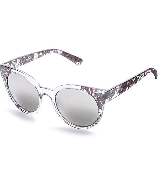 Black Catty Floral, Smoke Fade & Silver Mirrored Sunglasses