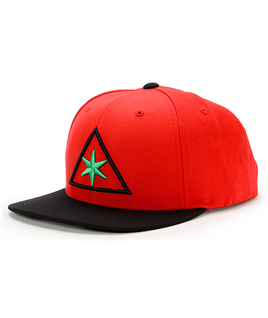 Black Scale 6 Points Red Snapback Hat