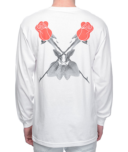 Black Scale Double Rose White Long Sleeve T-Shirt