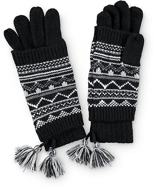Black Tribal Knit Cuff Gloves