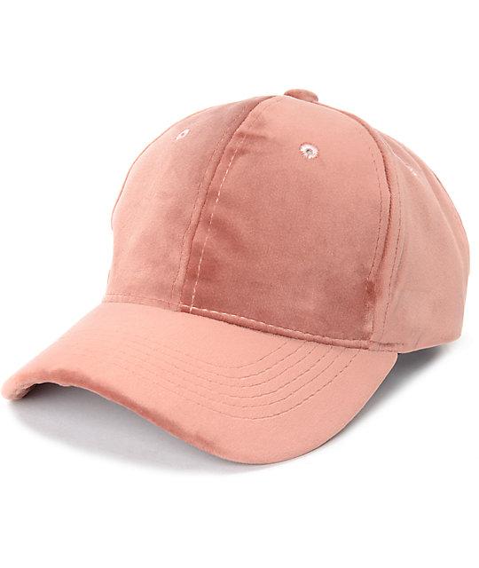 Blush Pink Velvet Baseball Hat
