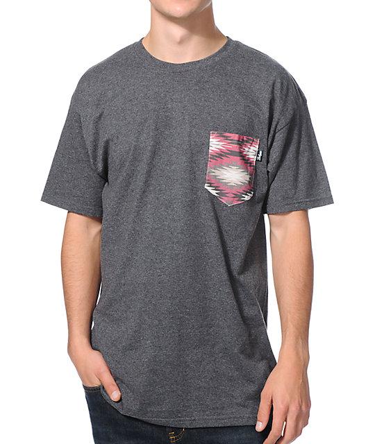Bohnam Dunes Grey Native Print Pocket T-Shirt