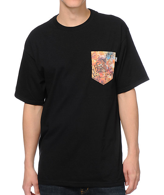 Bohnam Supply Co. Space Animals Black Pocket T-Shirt