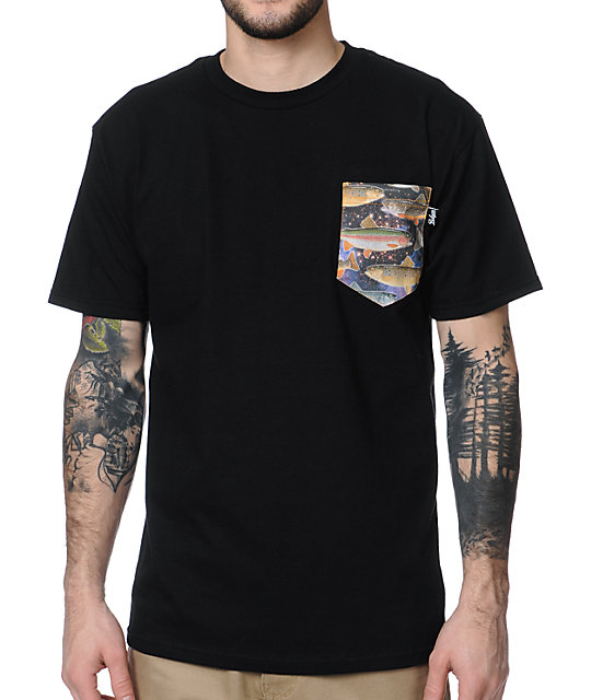 Bohnam Supply Co. Space Trout Black Pocket T-Shirt