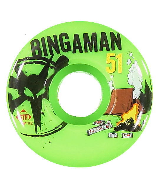 Bones Bingaman Camp Green STF 51mm Skateboard Wheels