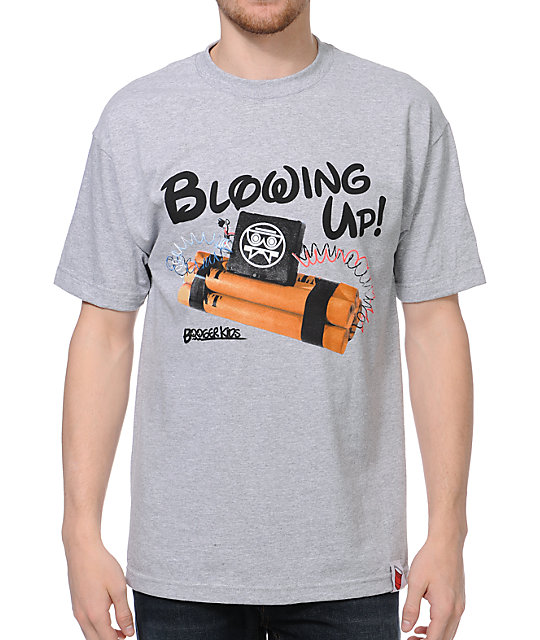 Booger Kids Blowing Up Grey T-Shirt