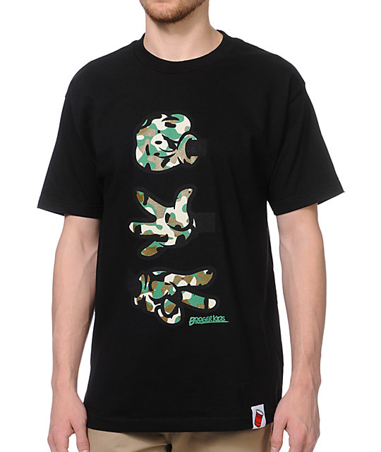 Booger Kids Rock, Paper, Cut Black & Camo T-Shirt