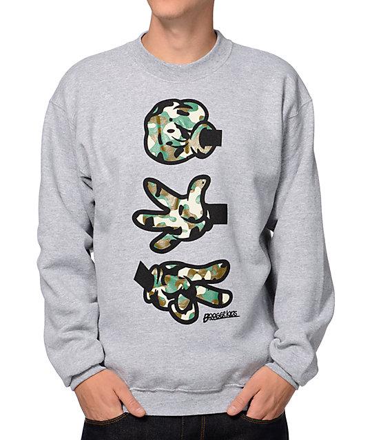 Booger Kids Rock, Paper, Cut Grey & Camo Crew Neck Sweatshirt