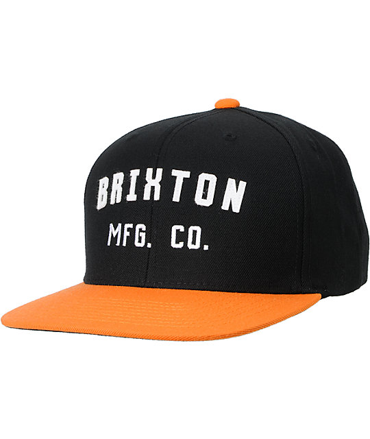 Brixton Arden Black & Orange Snapback Hat