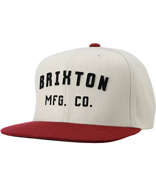 Brixton Arden Crimson Red & Grey Snapback Hat