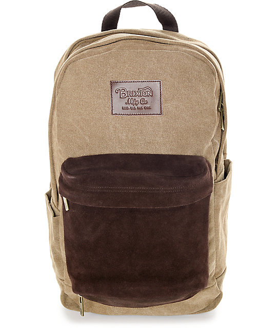 Brixton Basin Khaki and Brown 25L Backpack
