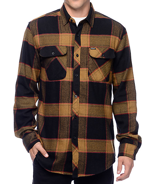 Brixton bowery black gold flannel button up shirt zumiez for Button up flannel shirts