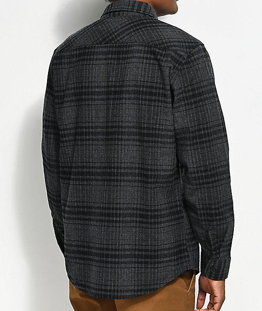 Brixton Bowery Black & Heather Charcoal Flannel Shirt