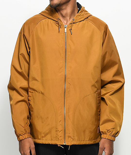 Brixton Claxton Copper Hooded Windbreaker Jacket | Zumiez