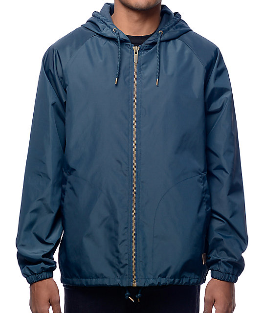 Brixton Claxton Navy Hooded Windbreaker Jacket