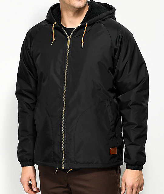 Brixton Claxton Sherpa Lined Black Hooded Jacket | Zumiez