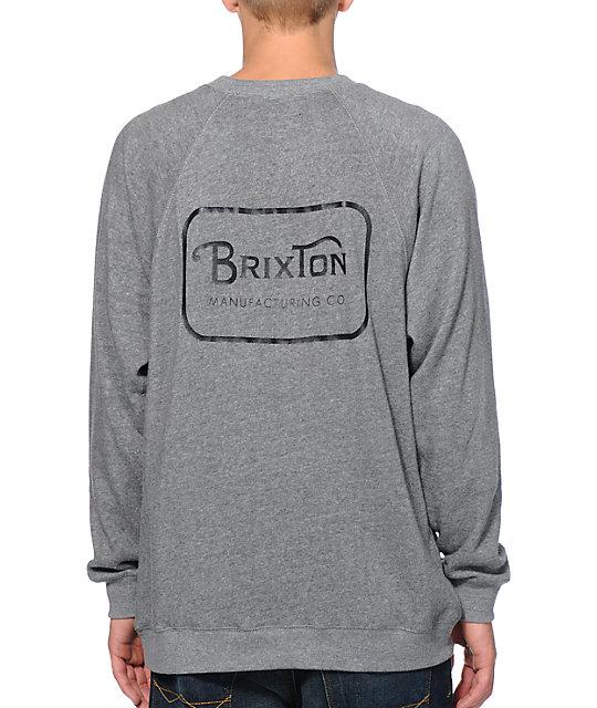 Brixton Coda Grey Raglan Crew Neck Sweatshirt