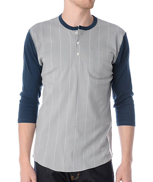 Brixton Detroit Grey & Blue Henley Baseball T-Shirt