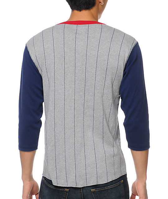 Brixton Detroit Grey & Navy Long Sleeve Henley Knit Shirt