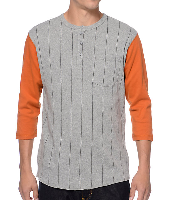 Brixton Detroit Grey & Orange Henley Baseball T-Shirt