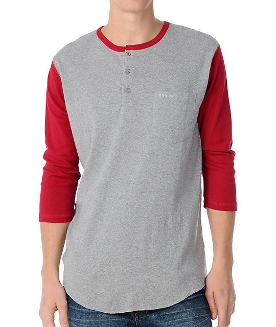 Brixton Detroit Grey & Red Henley Baseball T-Shirt