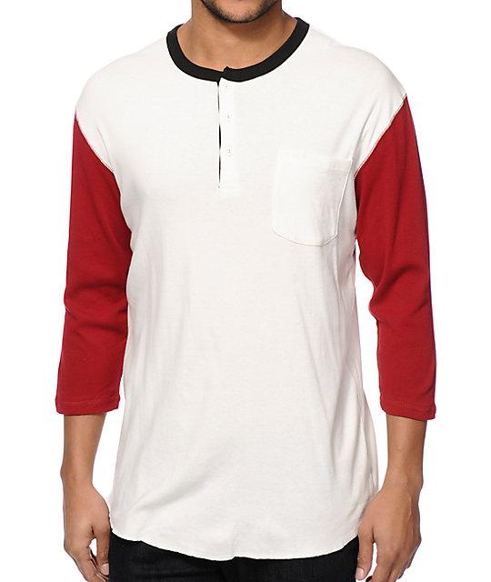 White Henley T Shirt Mens