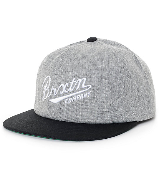 Brixton Fenway Light Heather Grey & Black Strapback Hat