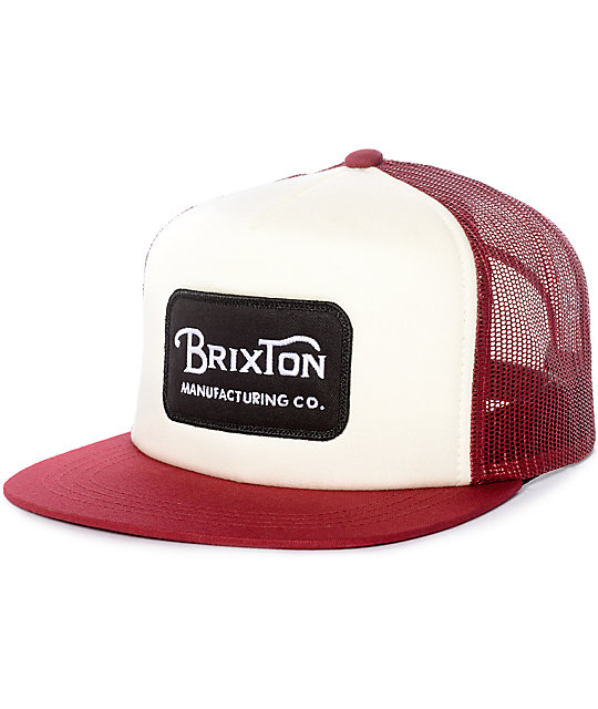 Brixton Grade White & Burgundy Mesh Snapback Hat