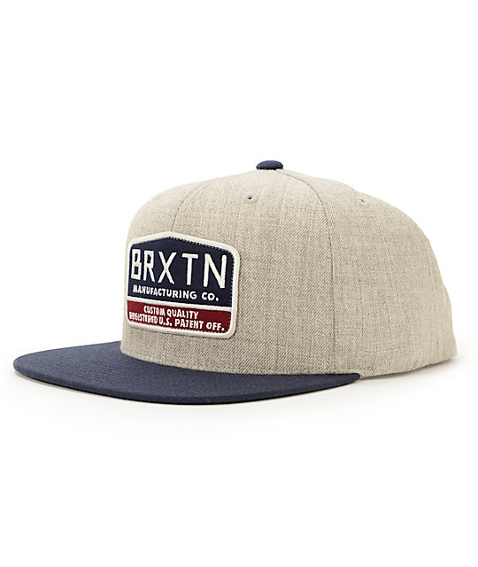 Brixton Heather Grey & Navy Snapback Hat