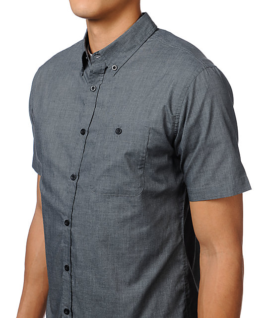 Brixton Howl Heather Charcoal Woven Button Up Shirt