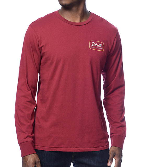 Brixton Jolt Burgundy Long Sleeve T-Shirt at Zumiez : PDP