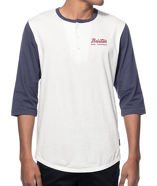 Brixton Jolt II White & Blue Henley Baseball T-Shirt