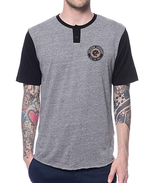 Brixton legion grey black henley t shirt zumiez for Whats a henley shirt