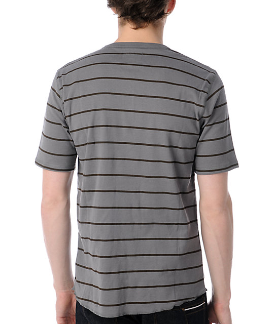 Brixton Lewis Grey & Brown Striped Henley T-Shirt