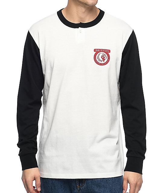 Brixton Native Off-White & Black Henley Long Sleeve Knit T-Shirt