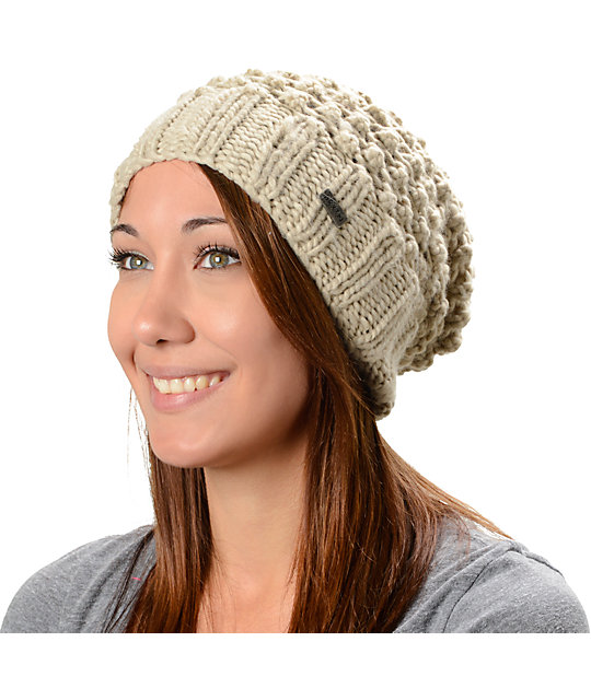 Brixton Patsy Cement & Beige Slouch Beanie